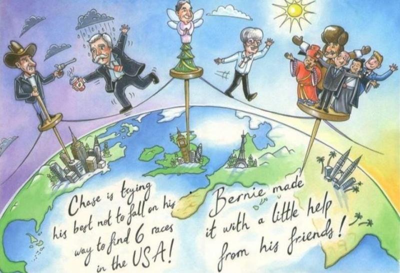 Берни Экклстоун потроллил Чейза Кэри в традиционной рождественской открытке